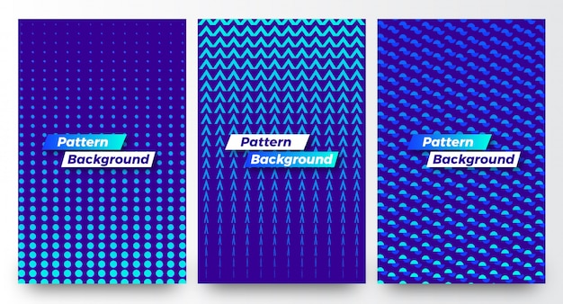Stylish modern abstract half pattern backgrounds template set