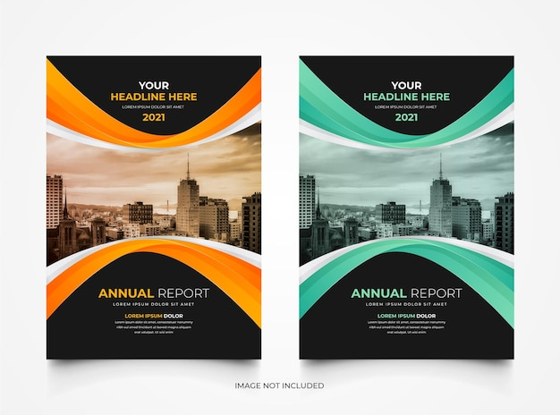 Stylish modern annual report business brochure cover template