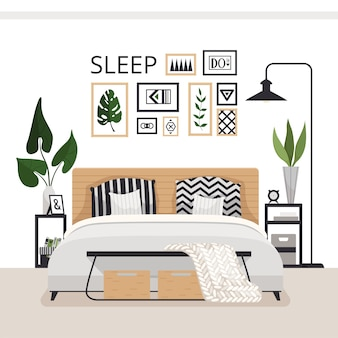 Stylish modern bedroom in the scandinavian style. minimalistic cozy interior with drawers, bed, paintings, rug and plants.