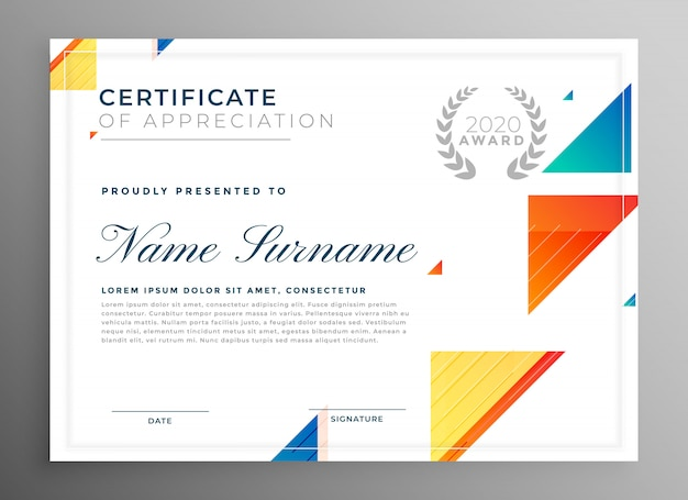 Stylish modern certicate of appreciation template design