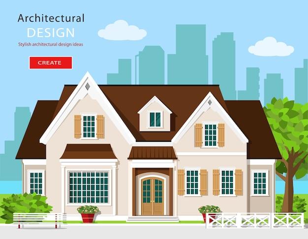 Стильный современный графический коттеджный домик