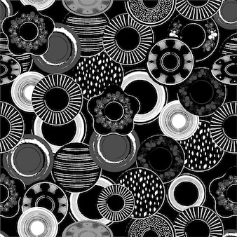 Stylish monotone black and white illustration of hand drawn porcelain dishes pattern  seamless pattern in.