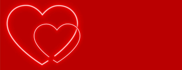 Stylish neon hearts on red background design