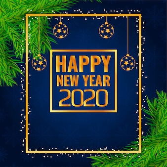 Stylish new year 2020 decorative frame