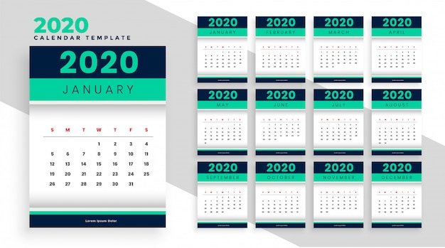Stylish new year calendar layour template design for 2020