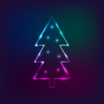 Stylish new year card with neon christmas tree