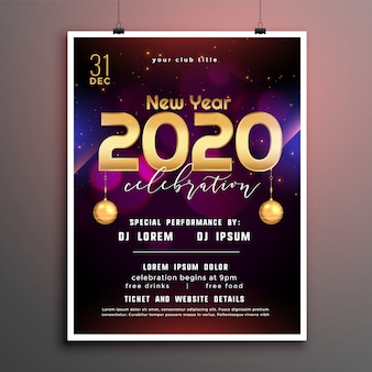 Stylish new year party flyer cover template design