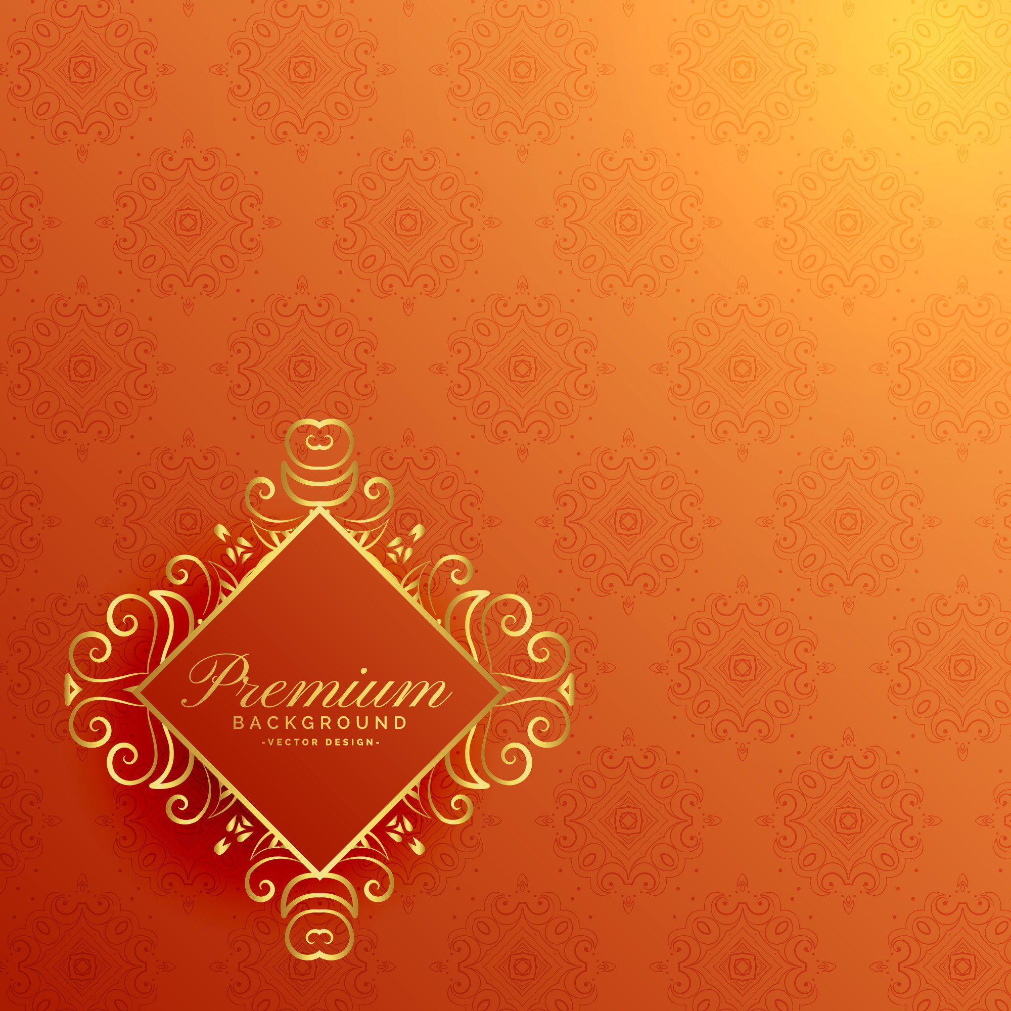 Stylish orange golden invitation background