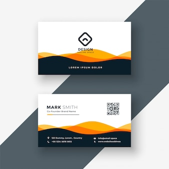 Stylish orange wavy shape business card design