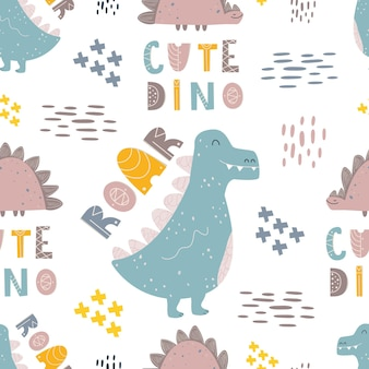 Stylish pattern with dinosaurs. funny phrases. seamless print for printing on fabric, digital paper. universal design for children. cute cartoon monsters. vector illustration, doodle
