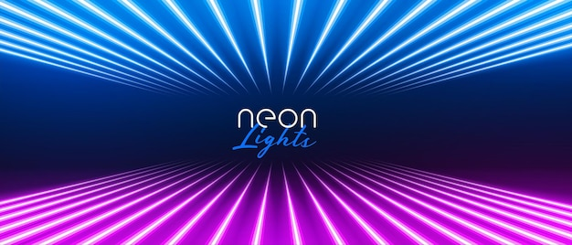 Stylish perspective neon light lines in blue and purple color