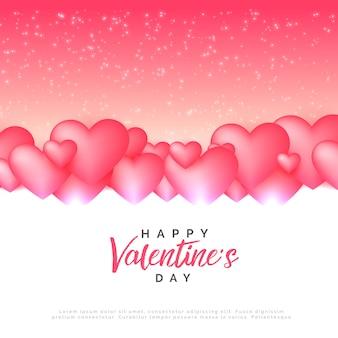 スタイリッシュなピンクの心がバレンタインデーの背景を愛する