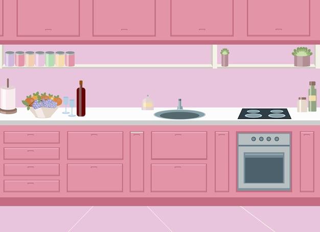 ホブ、シンク、冷蔵庫を内蔵したスタイリッシュなピンクのキッチンデザイン。ベクトル描画
