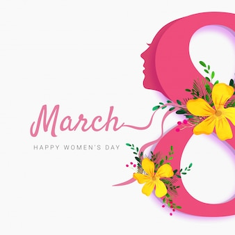Stylish pink text 8 and women face, happy womens day celebration concept.