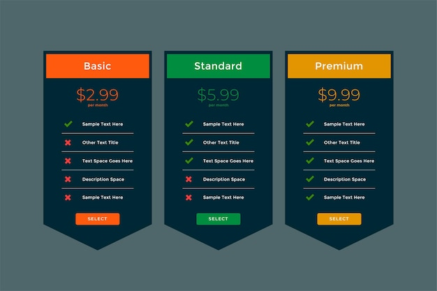Stylish plans and pricing comparison template