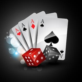 Vettore insieme di gioco di carte con dadi
