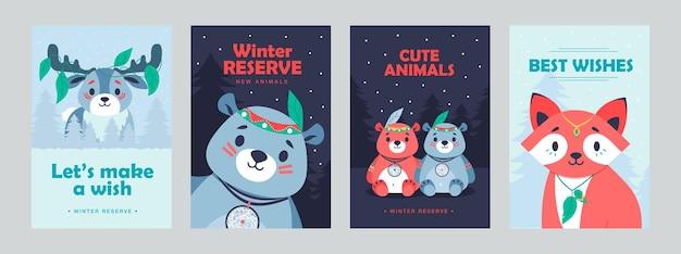 Poster eleganti con simpatici mammiferi. opuscoli vivaci con volpe, orso e cervo per hotel