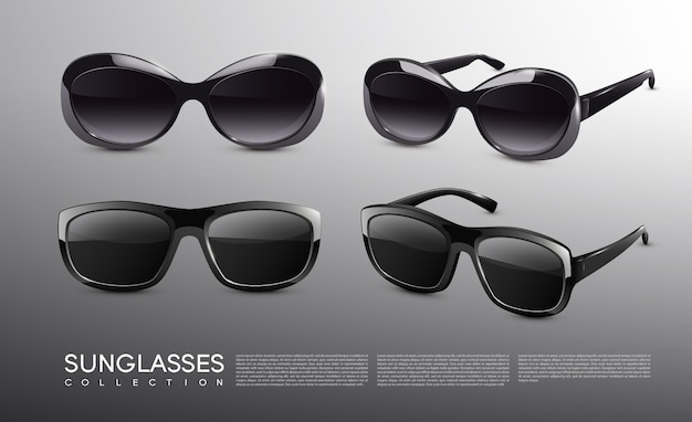 Stylish realistic sunglasses collection