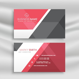 Stylish red and gray geometric business card