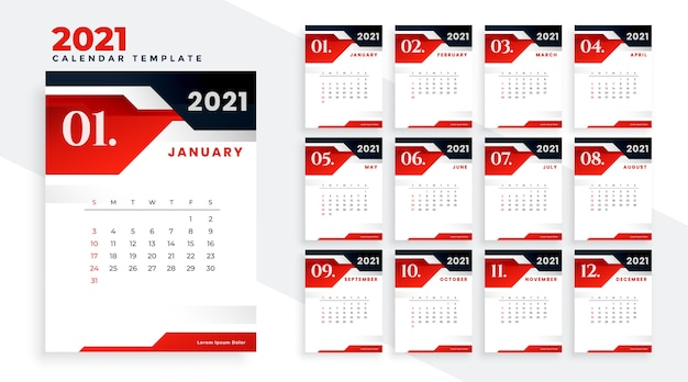 Stylish red black 2021 calendar design template