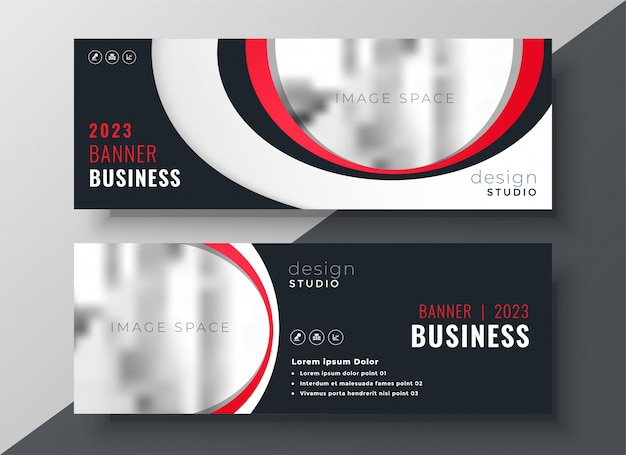 Stylish red business banner template