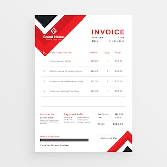 Stylish red business invoice template design