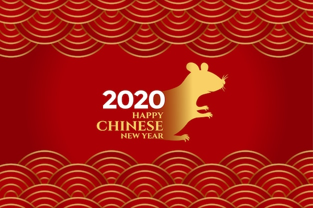 Stylish red chinese new year of rat background