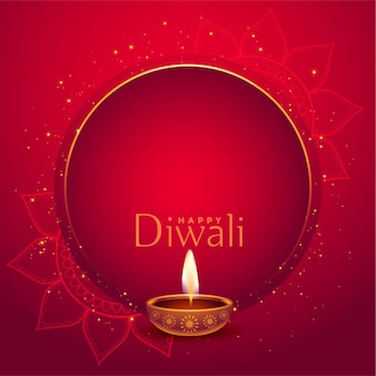Stylish red happy diwali background with text space