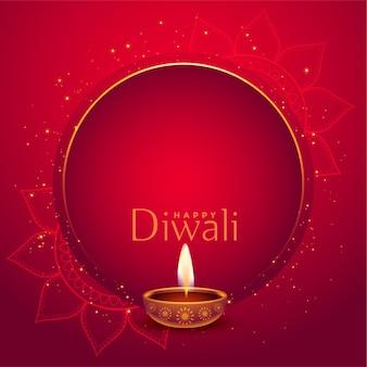 Elegante sfondo rosso diwali felice con lo spazio del testo
