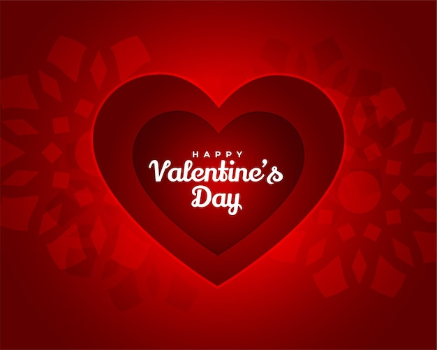 Elegante carta rossa di san valentino in stile papercut