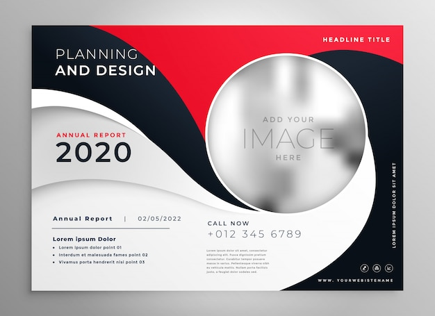 Stylish red wavy business brochure presentation template Free Vector