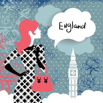 프랑스에서 쇼핑하는 여성의 실루엣이 있는 세련된 복고풍 배경. 손으로 그린 꽃과 런던의 상징인 빈티지 우아한 디자인 – 빅 벤
