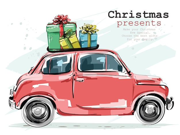 Stylish retro car with christmas gifts