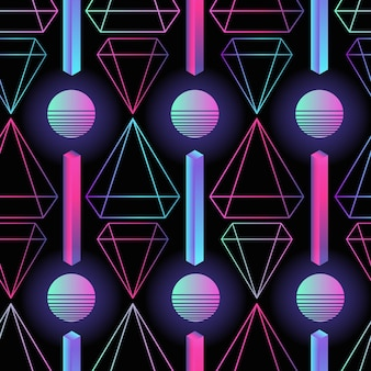 Stylish retro futuristic seamless pattern with gradient colored circles, stripes and polygons on black background.