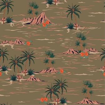 スタイリッシュなレトロな夏のシームレスな島のパターン