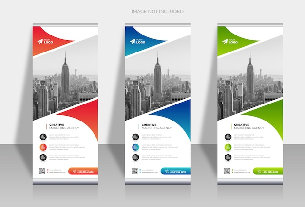 Stylish roll up business standee banner design