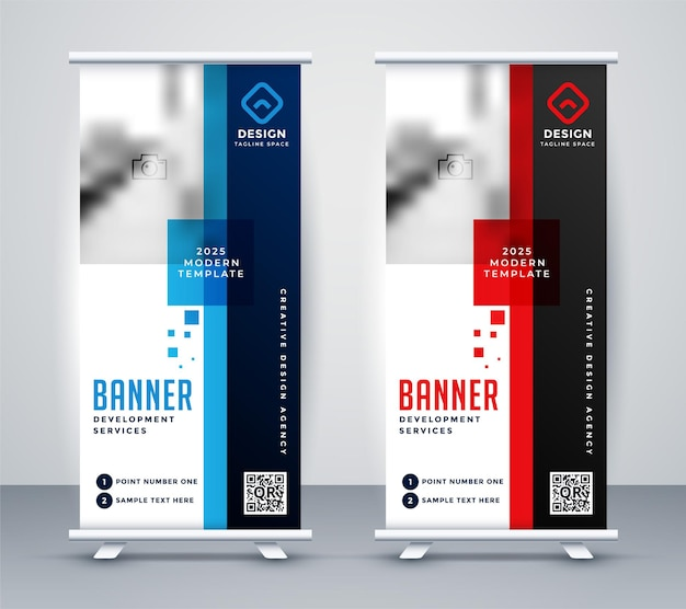 Design elegante per banner roll up in piedi