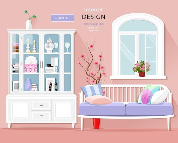 ソファ、食器棚、窓付きのスタイリッシュな部屋のインテリア。