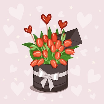 赤、黄、白、ピンクのチューリップのハートと封筒が付いたテキスト用のステッカーが付いたスタイリッシュな丸い箱...