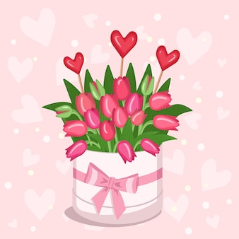 Stylish round box with a sticker for text with red yellow white pink tulips hearts and envelopes for...