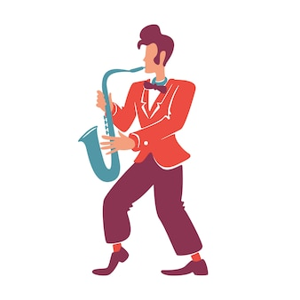 Stylish saxophonist flat color vector faceless character.