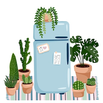 Stylish scandic living room interior - hygge retro fridge and plants.