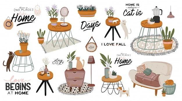 スタイリッシュなスカンディックリビングルームのインテリア-ソファ、アームチェア、コーヒーテーブル、鉢植え、ランプ、家の装飾。居心地の良い秋のシーズン。