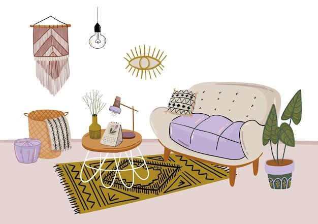 スタイリッシュなスカンディックリビングルームのインテリア-ソファ、アームチェア、コーヒーテーブル、鉢植え、ランプ、家の装飾。居心地の良い秋のシーズン。 hyggeスタイルで装飾されたモダンな快適なアパートメント