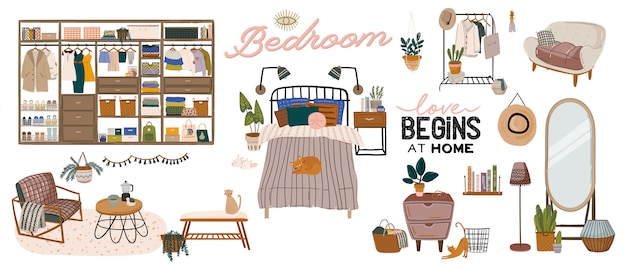 Stylish scandinavian bedroom interior - bed, sofa, wardrobe, mirror, night stand, plant, lamp, home decorations. cozy modern comfy apartment furnished in hygge style.  illustration