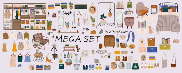 スタイリッシュなスカンジナビアの寝室のインテリア-ベッド、ソファ、ワードローブ、鏡、ナイトスタンド、植物、ランプ、家の装飾。 hyggeスタイルで装飾された居心地の良いモダンで快適なアパートメント。図。