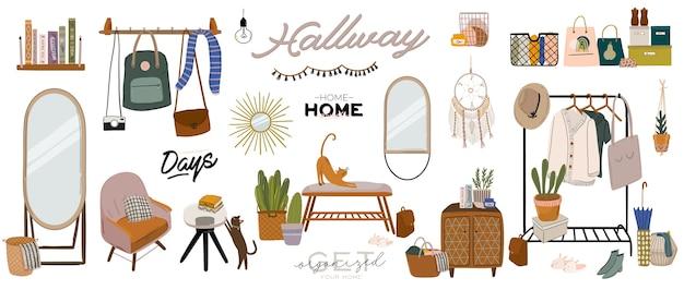 スタイリッシュなスカンジナビアのエントランスホールのインテリアと家の装飾。ワードローブの女性服。衣服の整理と保管。女性ショップ、ブティック、ストアのイラスト