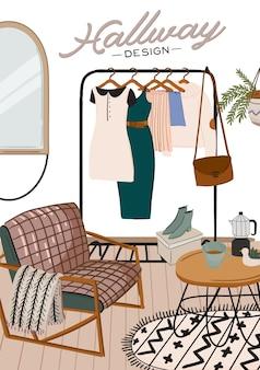 Стильный скандинавский интерьер прихожей и предметы интерьера. женская одежда в гардеробе. организация и хранение одежды. иллюстрация для женского магазина, бутика, магазина