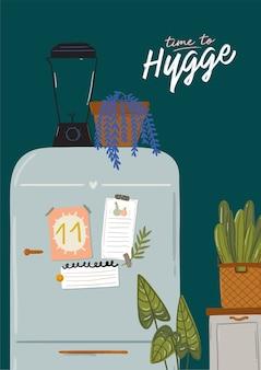 スタイリッシュなスカンジナビアのキッチンインテリア-ストーブ、テーブル、台所用品、冷蔵庫、家の装飾