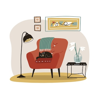 Stylish scandinavian living room interior. cozy home furniture. modern comfy apartment furnished in hygge style.   flat illustration. Premium Vector